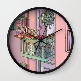 Day off on the Balcony Wall Clock