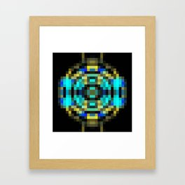 geometric square pixel abstract in blue and yellow with black background Framed Art Print