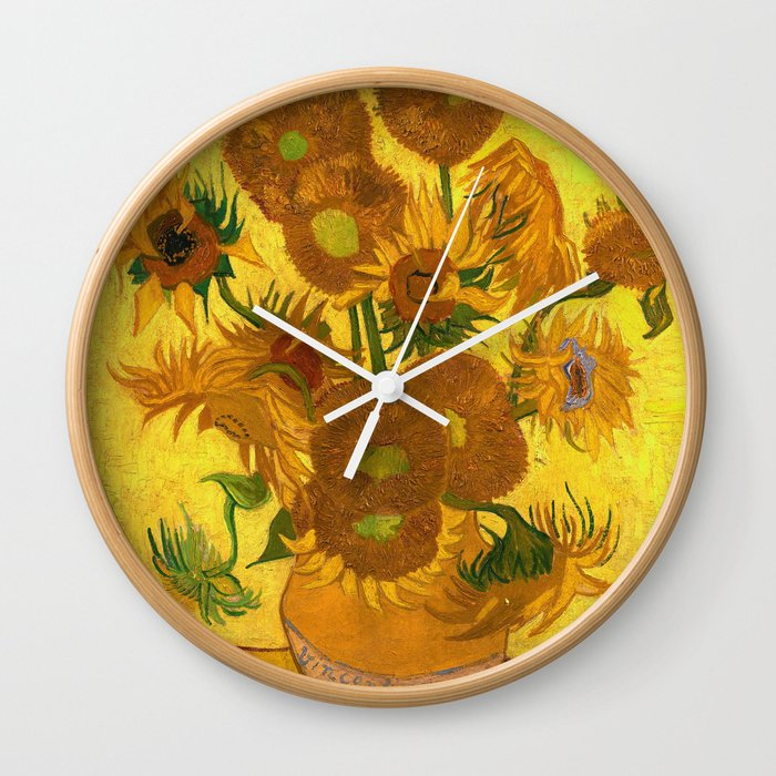Vincent Van Gogh Fifteen Sunflowers In A Vase Wall Clock By
