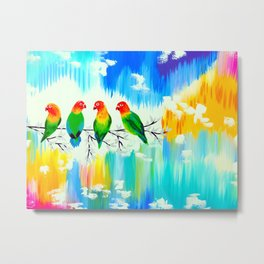 Lovebirds on a branch Metal Print