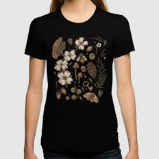 Nature Walks (Light Background) MEDIUM Black Womens Fitted Tee