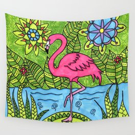 Pink flamingo Wall Tapestry