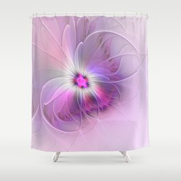 Abstract Flower With Pink And Purple Fractal Shower Curtain