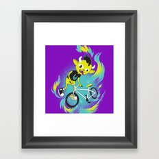 Monster Pixie Riding a Fixie Framed Art Print