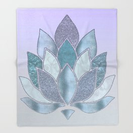 Elegant Glamorous Pastel Lotus Flower Throw Blanket