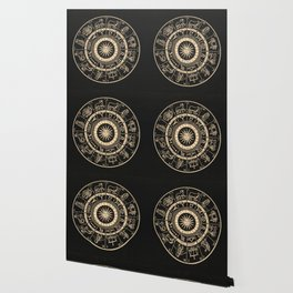 Vintage Zodiac & Astrology Chart | Charcoal & Gold Wallpaper