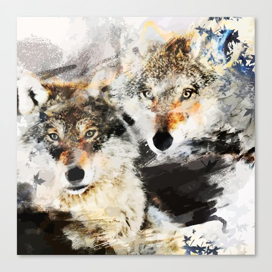 Wolf Nature Autumn Canvas Print