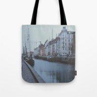 copenhagen Tote Bags featuring Copenhagen by Gabriri