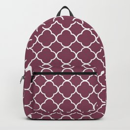 Purple, Mulberry: Quatrefoil Clover Pattern Backpack