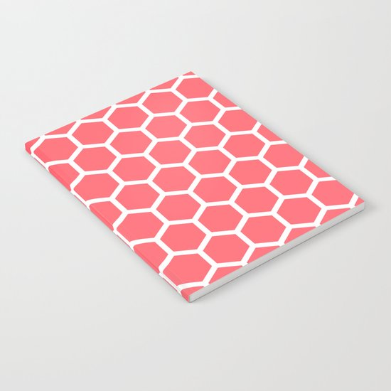 Coral Red Honeycomb Notebook