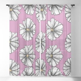 Please Don't Eat the Daisies Pink Sheer Curtain