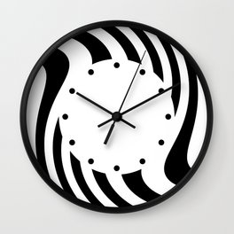 Black and white abstract striped Optical Art Wall Clock