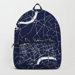 Navy on White London Street Map Backpack