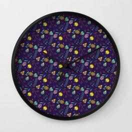 Flora & Beetles (purple) Wall Clock