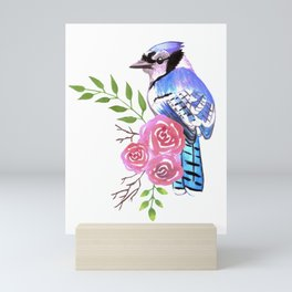 Blue Jay on a floral branch watercolor bird painting Mini Art Print