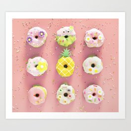 Colorful Donuts Print Pink Background Art Print