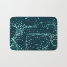 Teal and Triangles Bath Mat