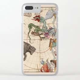 Pictorial Celestial Map with Constellations Ursa Major and Ursa Minor Clear iPhone Case