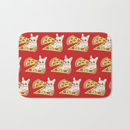 Cream Frenchie invites you to her Pepperoni pizza party Bath Mat