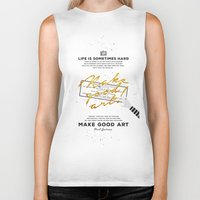 neil gaiman Biker Tanks featuring Make Good Art - Neil Gaiman by thatfandomshop
