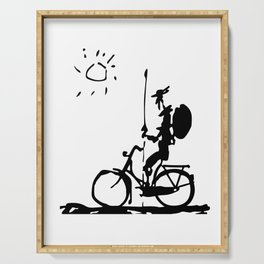 Don Quixote Riding Bike, Sketch Line Parody 1955 T Shirt Serving Tray