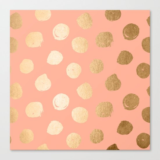 Sweet Life Polka Dots Peach Coral + Orange Sherbet Shimmer Canvas Print
