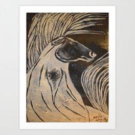 POWER HORSE on Birch Bark 2002 Art Print