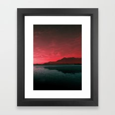 RED SKY OVER LAKE Framed Art Print