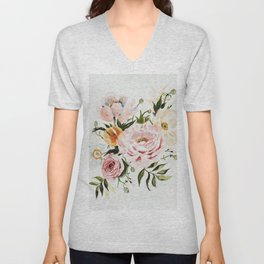 Loose Peonies & Poppies Floral Bouquet Unisex V-Neck