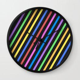 Purple Yellow Blue Black trippy stripes Wall Clock