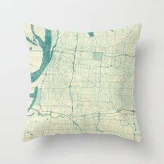 Memphis Map Blue Vintage Throw Pillow