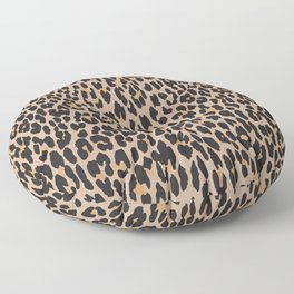 Animal Print, Spotted Leopard - Brown Black Floor Pillow