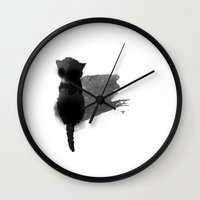 kitty Wall Clocks featuring kitty by Anja Lechner