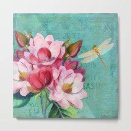 Verdigris Pink Magnolias Metal Print