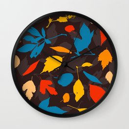 Seamless pattern with colorful autumn leaves Wall Clock