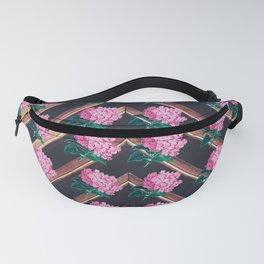 Floral Pink Bouquet of Flowers laid out on a Geometric Pattern  Fanny Pack