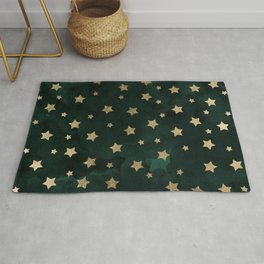 Modern gold christmas stars geometric pattern green watercolor Rug