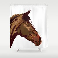 horse Shower Curtains featuring horse by Temi Alli