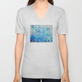 Elegant Islamic Geometric Blue Pattern Unisex V-Neck