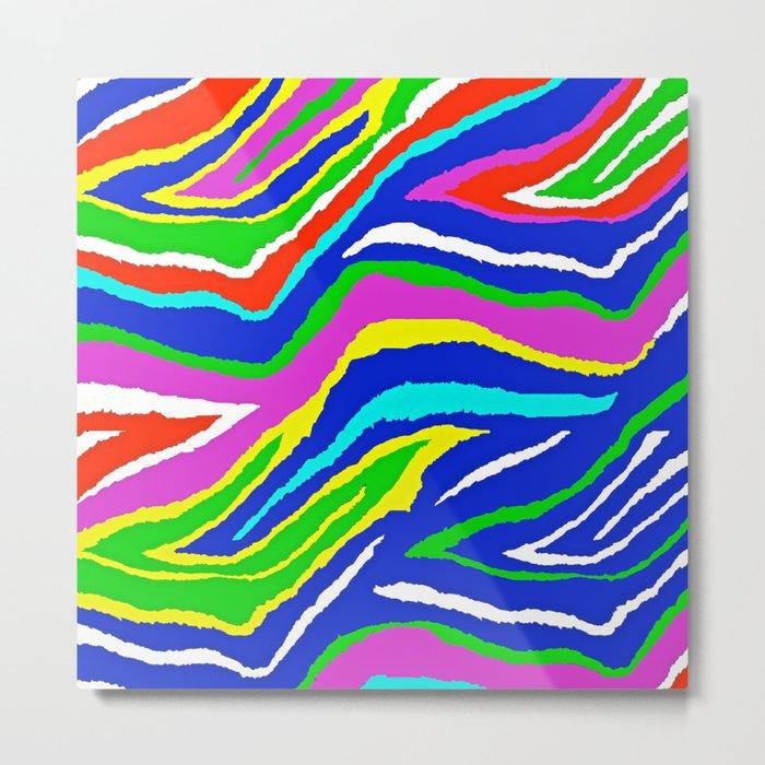 Rainbow Zebra Pattern Metal Print