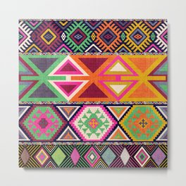 Aztec Artisan Tribal Bright Metal Print
