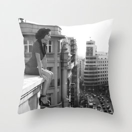 Woman on High, female form cityscape black and white photograph / photography Throw Pillow