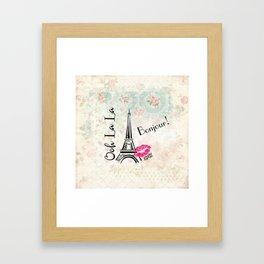 Paris Eiffel Tower Bonjour Oh La La Framed Art Print