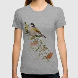 Chickadee Asian Style Bird and Flowers Zen brush painting T-shirt