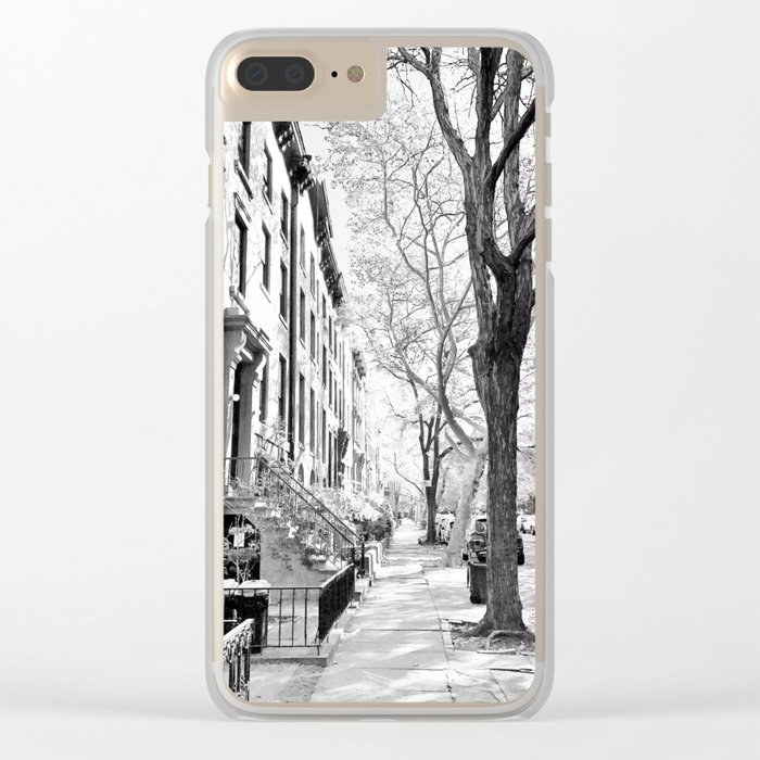 Cobble Hill Brooklyn Winter Black and White Brownstone Clear iPhone Case