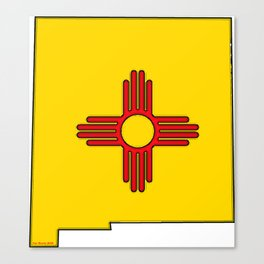 New Mexico Map with State Flag Canvas Print