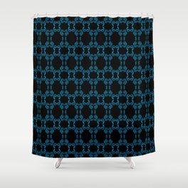 Hand drawn Seed Pods Bright Blue on Black Shower Curtain