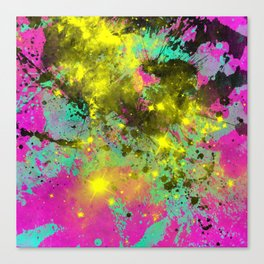 Stargazer - Abstract cyan, black, purple and yellow oil painting Canvas Print