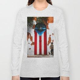 PUERTO RICO FLAG DOOR Long Sleeve T-shirt