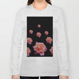 ROMANTIC ANTIQUE PINK ROSES ON BLACK Long Sleeve T-shirt
